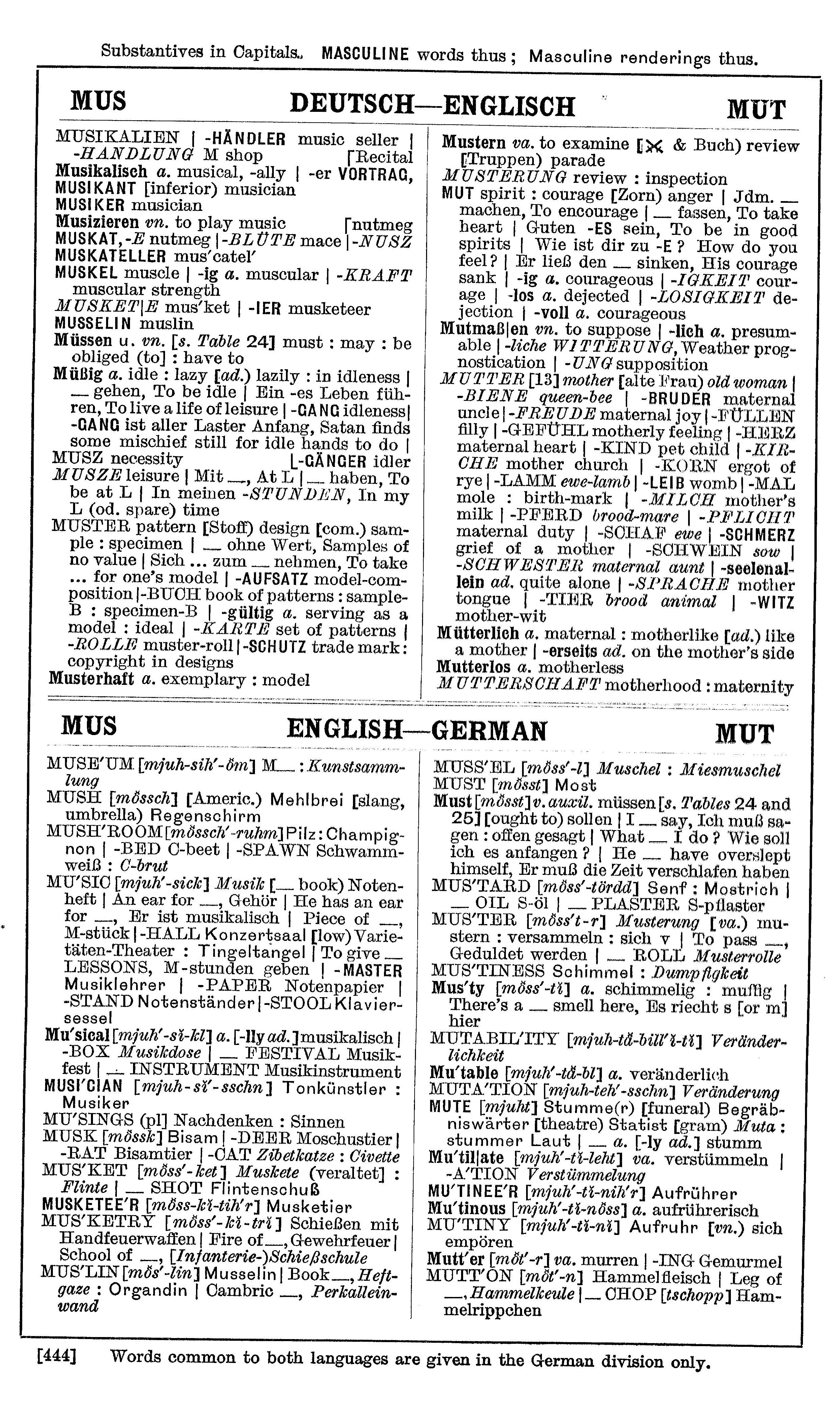 Bellows' German Dictionary, Longmans, Green & Co. Ltd., first published in 1912